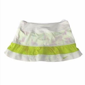 Nike Dri-fit Tennis White Neon Yellow Stripe Skirt